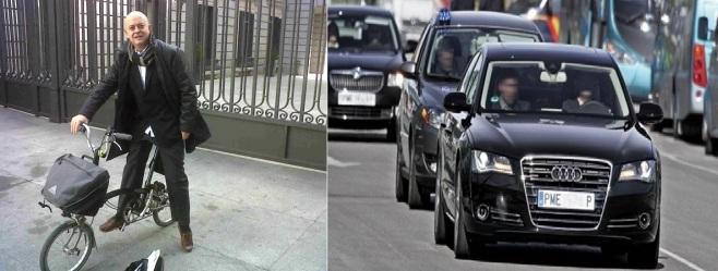 Odón Elorza político y ciclista urbano VS coche oficial del Congreso de los Diputados
